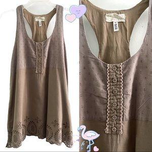 Mori style cotton eyelet cutout blouse w/ pockets